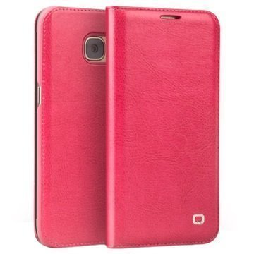 Samsung Galaxy S7 Qialino Classic Lompakkomallinen Nahkakotelo Kuuma Pinkki