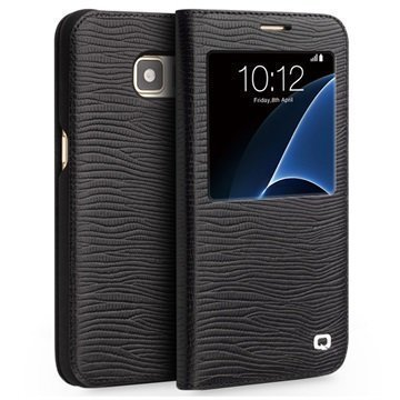 Samsung Galaxy S7 Qialino Smart Läpällinen Nahkakotelo Liskonnahka Musta