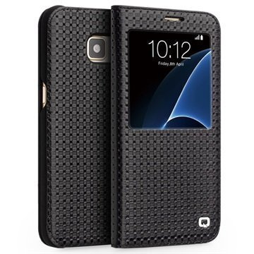 Samsung Galaxy S7 Qialino Smart View Nahkakotelo Musta