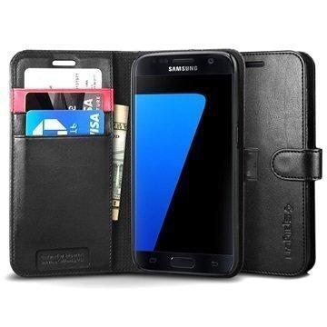 Samsung Galaxy S7 Spigen S Lompakkokotelo Musta