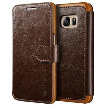 Samsung Galaxy S7 VRS Design Layered Dandy Series Lompakkokotelo Kahvi / Vaaleanruskea