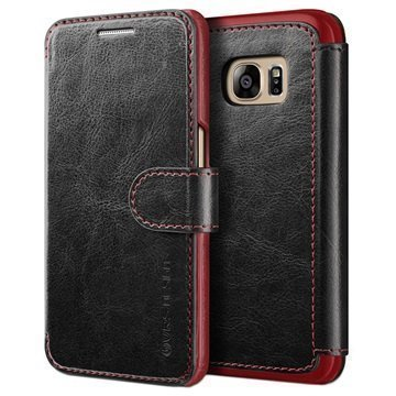 Samsung Galaxy S7 VRS Design Layered Dandy Series Lompakkokotelo Musta / Viininpunainen