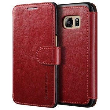 Samsung Galaxy S7 VRS Design Layered Dandy Series Lompakkokotelo Viininpunainen / Musta