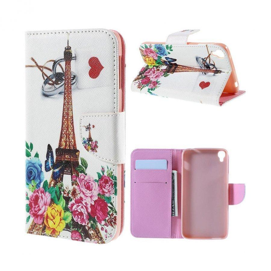 Scherfig Alcatel Onetouch Idol 3 5.5 Kuvioitu Nahkakotelo Standillä Eiffel Torni Ja Ruusuja