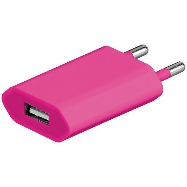 Seinälaturi 230V 5V USB 1A 1xUSB-portti vaal.pun