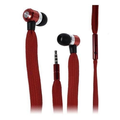 Shoelace Style Punainen Nappikuulokkeet Mikrofonilla