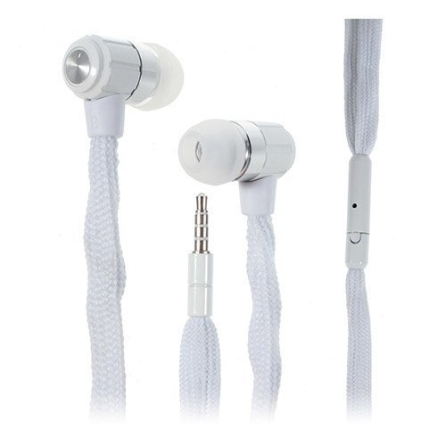 Shoelace Style Valkoinen Nappikuulokkeet Mikrofonilla
