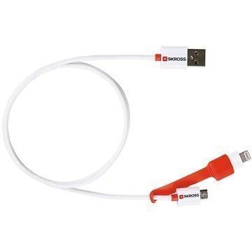 Skross Charge'n Sync 2 in 1 Lightning / MicroUSB Kaapeli Valkoinen