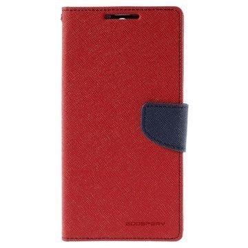 Sony Xperia C5 Ultra Mercury Goospery Fancy Diary Lompakkokotelo Punainen / Tummansininen