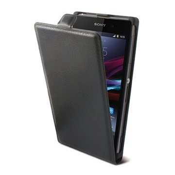Sony Xperia M Ksix Vertical Flip Leather Case Black