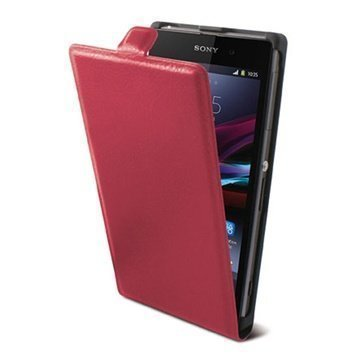 Sony Xperia M Ksix Vertical Flip Leather Case Fucsia