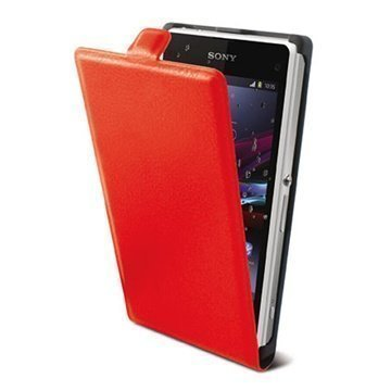Sony Xperia M Ksix Vertical Flip Leather Case Red