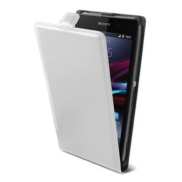 Sony Xperia M Ksix Vertical Flip Leather Case White