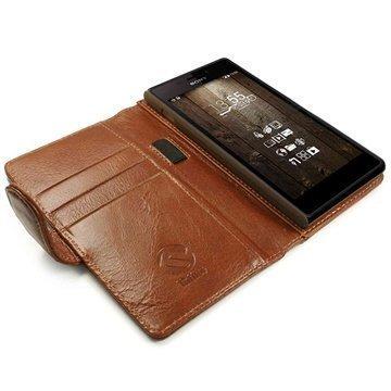 Sony Xperia M2 Xperia M2 DualTuff-luv Vintage Lompakkomallinen Nahkakotelo Ruskea