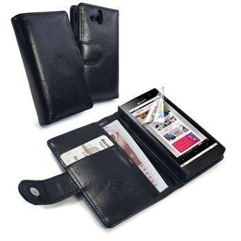 Sony Xperia U Tuff-Luv Vintage Nahkainen Lompakkokotelo Musta