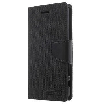 Sony Xperia X Mercury Goospery Canvas Diary Lompakkokotelo Musta