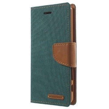 Sony Xperia X Mercury Goospery Canvas Diary Lompakkokotelo Vihreä