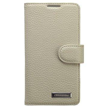 Sony Xperia Z3 Compact Commander Book Ellite Nahkainen Suojakotelo Valkoinen