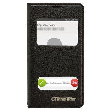 Sony Xperia Z3 Compact Commander Double Window Läpällinen Nahkakotelo Musta