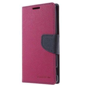 Sony Xperia Z3+ Mercury Goospery Fancy Diary Lompakkokotelo Kuuma Pinkki / Musta