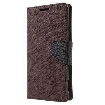 Sony Xperia Z3+ Mercury Goospery Fancy Diary Lompakkokotelo Ruskea / Musta