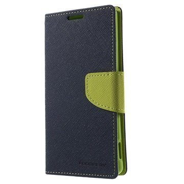 Sony Xperia Z3+ Mercury Goospery Fancy Diary Lompakkokotelo Sininen / Vihreä