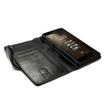 Sony Xperia Z3 Tuff-luv Vintage Lompakkomallinen Nahkakotelo Musta