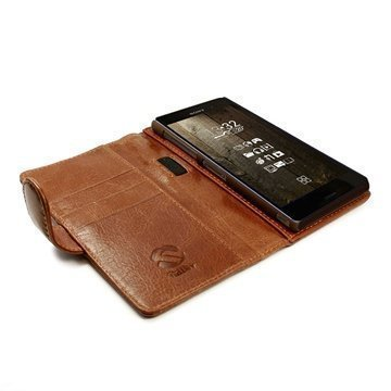 Sony Xperia Z3 Tuff-luv Vintage Lompakkomallinen Nahkakotelo Ruskea