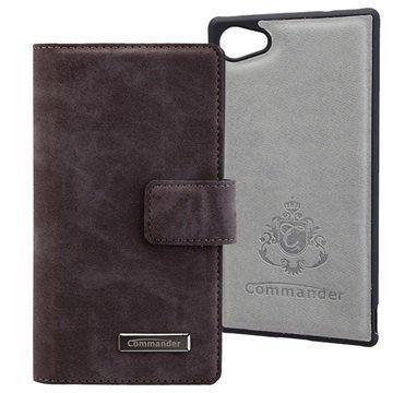 Sony Xperia Z5 Compact Commander Book & Cover Kotelo Nubuk Harmaa