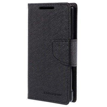 Sony Xperia Z5 Compact Mercury Goospery Fancy Diary Lompakkokotelo Musta