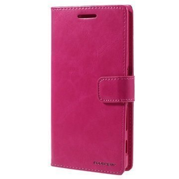Sony Xperia Z5 Mercury Goospery Blue Moon Diary Lompakkokotelo Kuuma Pinkki