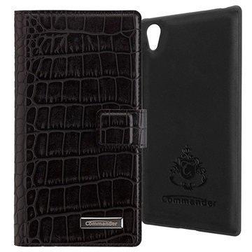 Sony Xperia Z5 Premium Commander Book & Cover Kotelo Croco Musta