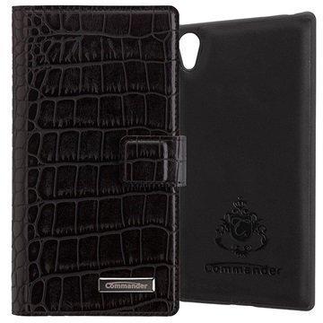 Sony Xperia Z5 Xperia Z5 Dual Commander Book & Cover Kotelo Croco Musta