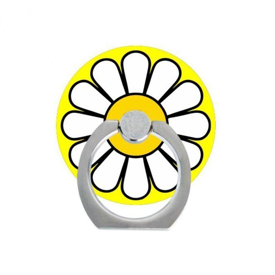 Sormi Rengas Standi Älypuhelimille Valkoiset Terälehdet Keltaisella Keskiöllä