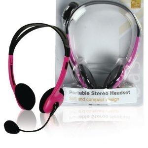 Stereo headset pinkki