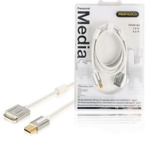 Sync and charge cable 30-pin dock male USB 2.0 A male 2.00 m white