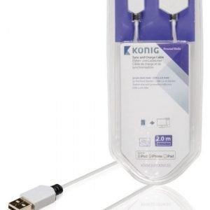 Synkronointi- ja latauskaapeli 30-nastainen telakkaliitin uros USB 2.0 A -urosliitin 2 00 m valkoinen