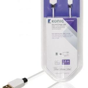 Synkronointi- ja latauskaapeli 8-nastainen Lightning-liitin uros USB 2.0 A -urosliitin 1 00 m valkoinen