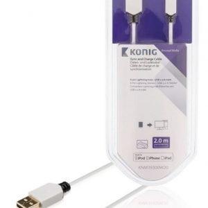 Synkronointi- ja latauskaapeli 8-nastainen Lightning-liitin uros USB 2.0 A -urosliitin 2 00 m valkoinen