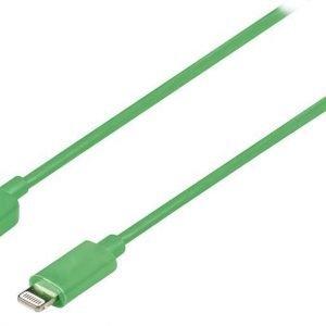 Synkronointi- ja latauskaapeli Lightning uros USB A uros 1 00 m vihreä
