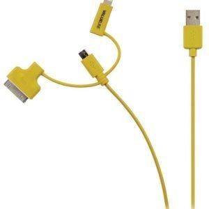 Synkronointi- ja latauskaapeli USB 2.0 A uros Micro B uros Lightning-sovitin ja 30-nastainen telakkasovitin liitettyinä 1 00 m keltainen