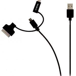 Synkronointi- ja latauskaapeli USB 2.0 A uros Micro B uros Lightning-sovitin ja 30-nastainen telakkasovitin liitettyinä 1 00 m musta