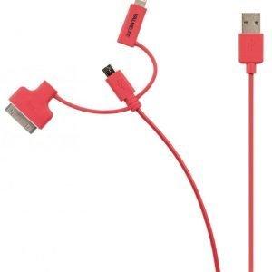 Synkronointi- ja latauskaapeli USB 2.0 A uros Micro B uros Lightning-sovitin ja 30-nastainen telakkasovitin liitettyinä 1 00 m punainen