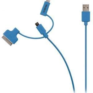 Synkronointi- ja latauskaapeli USB 2.0 A uros Micro B uros Lightning-sovitin ja 30-nastainen telakkasovitin liitettyinä 1 00 m sininen