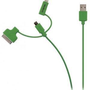 Synkronointi- ja latauskaapeli USB 2.0 A uros Micro B uros Lightning-sovitin ja 30-nastainen telakkasovitin liitettyinä 1 00 vihreä