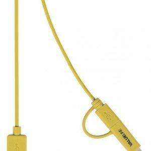 Synkronointi- ja latauskaapeli USB 2.0 A uros Micro B uros Lightning-sovitin liitettynä 1 00 m keltainen