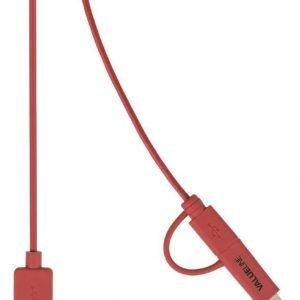 Synkronointi- ja latauskaapeli USB 2.0 A uros Micro B uros Lightning-sovitin liitettynä 1 00 m punainen