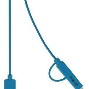 Synkronointi- ja latauskaapeli USB 2.0 A uros Micro B uros Lightning-sovitin liitettynä 1 00 m sininen