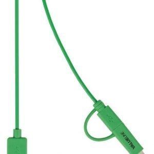 Synkronointi- ja latauskaapeli USB 2.0 A uros Micro B uros Lightning-sovitin liitettynä 1 00 m vihreä