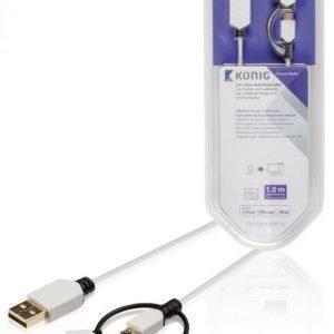 Synkronointi- ja latauskaapeli USB Micro B -urosliitin A-urosliitin + 8-nastainen Lightning-liitin ja 30-nastainen telakkasovitin uros 1 00 m valkoinen